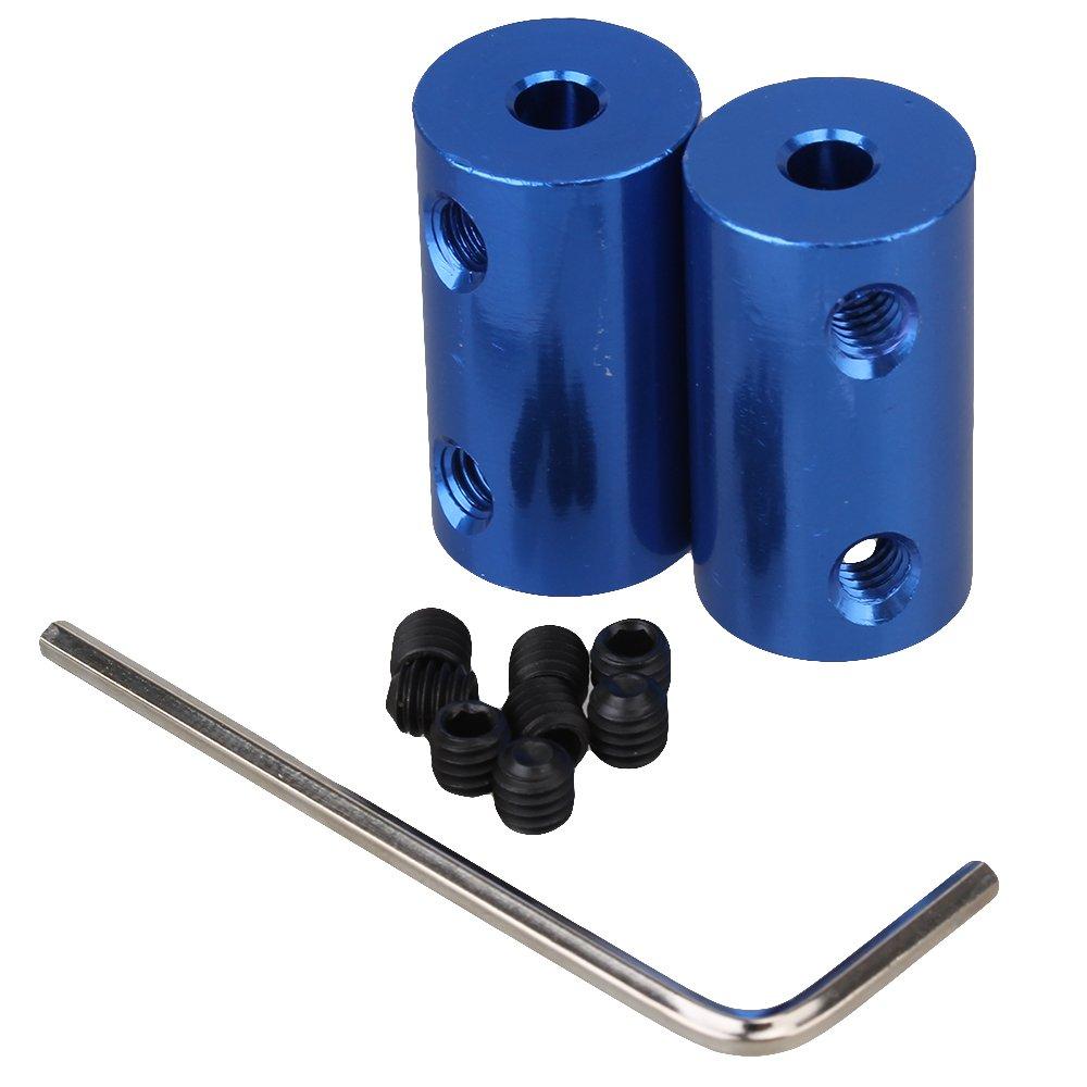 BQLZR Blue 4mm-6mm Aluminium Alloy Shaft Robot Accouplement de couple de cuivre rigide Pack de 2
