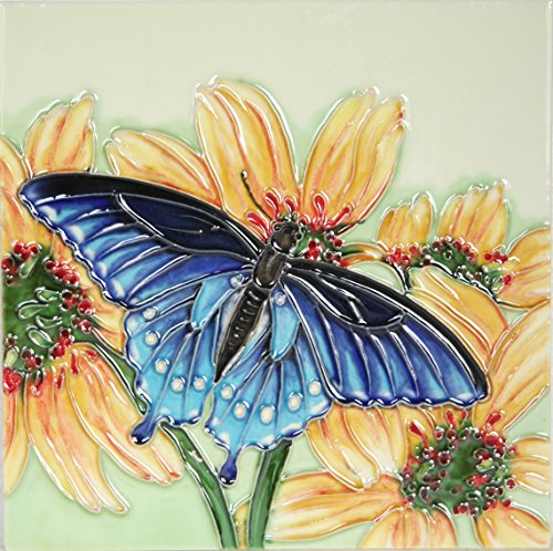 YH-Arts 8 x 8-Inch Butterfly One Art Tile, Ceramic, Multi-Colour by YH-Arts