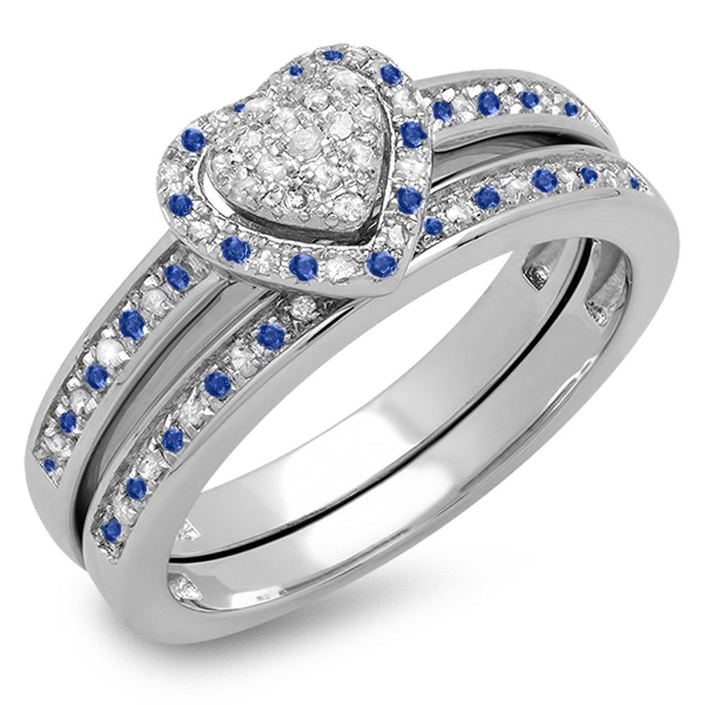 Sterling Silver Blue Sapphire & White Diamond Heart Shaped Bridal Ring Set (Size 5)