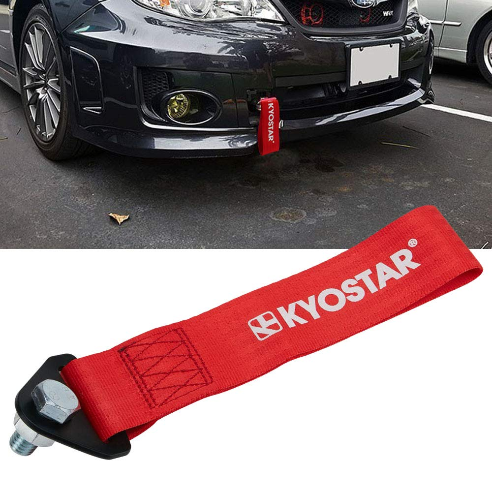 Kyostar Universal Racing Tow Strap for Front or Rear Bumper Towing Hooks (Red)