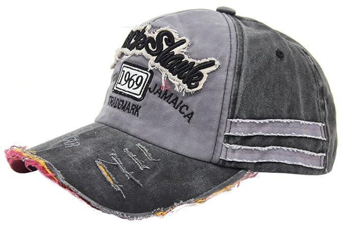 MINAKOLIFE Distressed Vintage Cotton Washed Baseball Cap Snapback Trucker  Hat (Black) 6e3208619d00