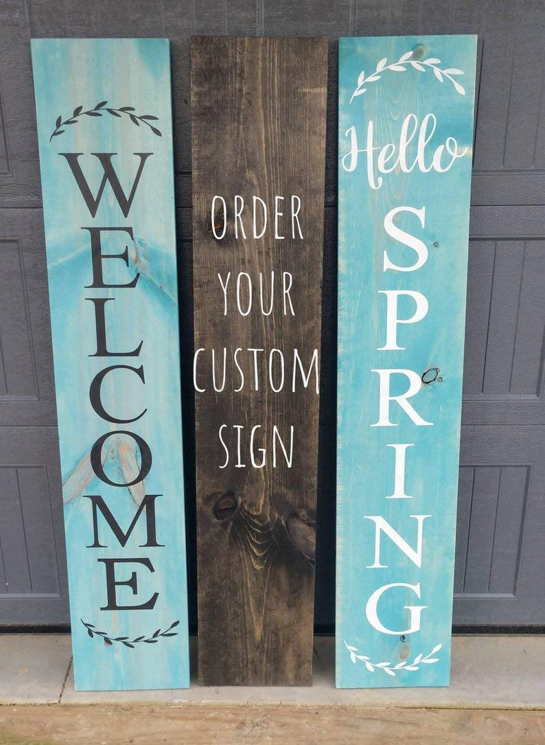 """12"""" Rustic Vertical Wood Sign WELCOME Door Country Home Decor Porch Farmhouse"""