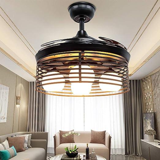 Huston Fan Retro Black Chandelier Fan with 3 Bulb for Bedroom 42 Inch  Personality Retractable Ceiling Fan Light Three Light ...