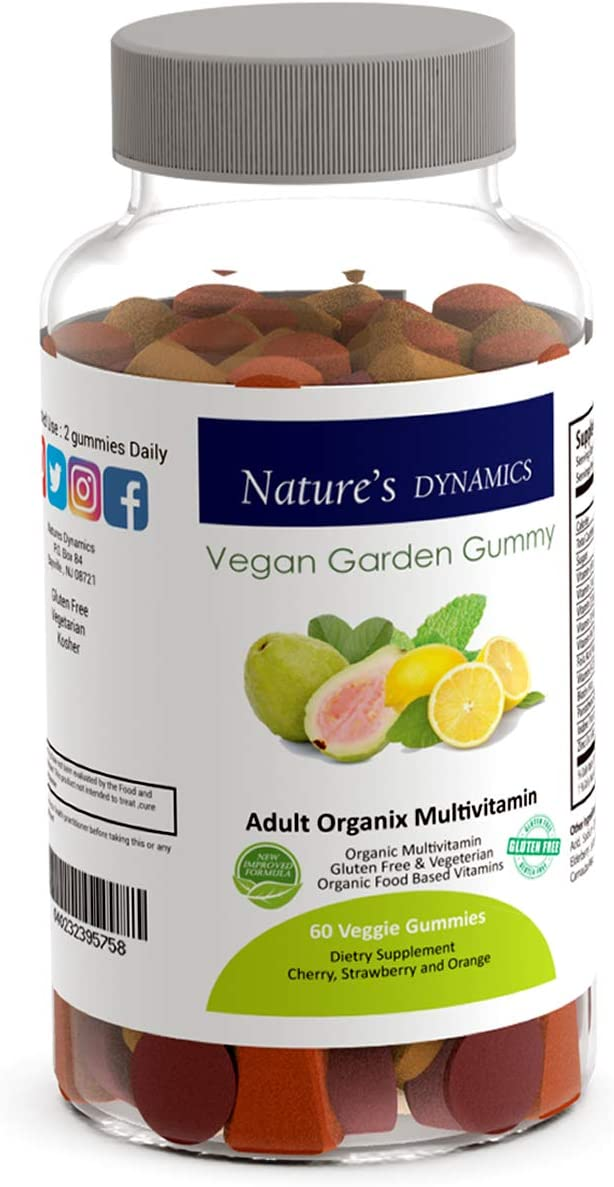 Nature's Dynamics Organic Multivitamin Chewable Gummies for Adults - USDA Certified Organic Gummy Vitamin Supplement for Men and Women - Energy, Memory, Bone & Stress Support.