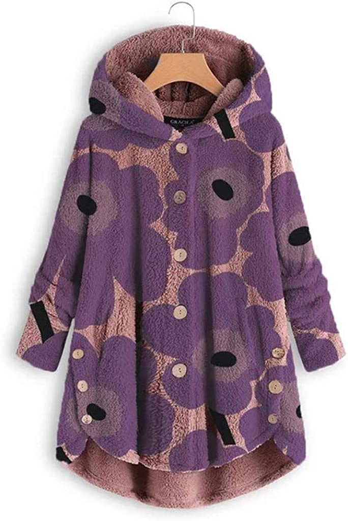 BOLANQ Mantel Jacke Coat Outwear Sweatshirt Art und Weisefrauen Knopf Mantel flaumiger Heck Oberseiten mit Kapuze Pullover lose Strickjacke