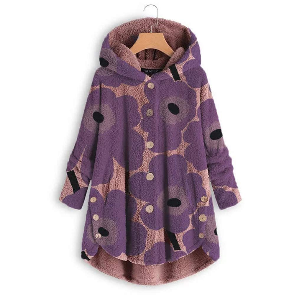 Pandaie Woemns Fluffy Fleece Jacket Hooded Coat Flowers Buttons Hoodie Pullover Winter Plush Sweatshirt Jackets Purple by Pandaie
