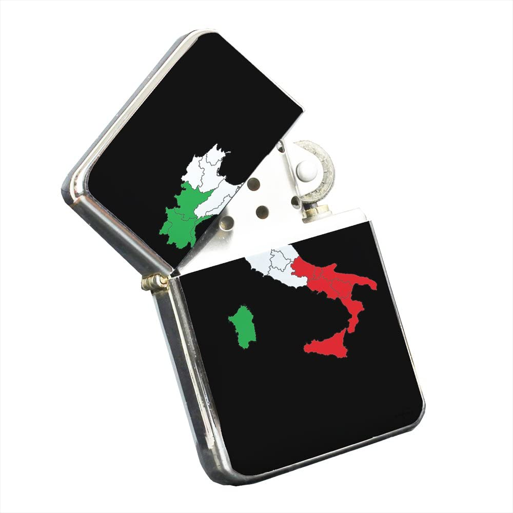 Elements of Space Italy Italian Flag - Silver Chrome Pocket Lighter