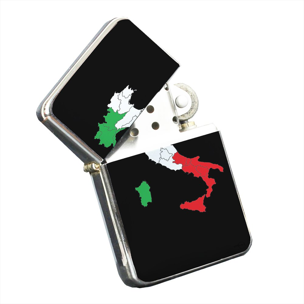 Italy Italian Flag - Silver Chrome Pocket Lighter by Elements of Space
