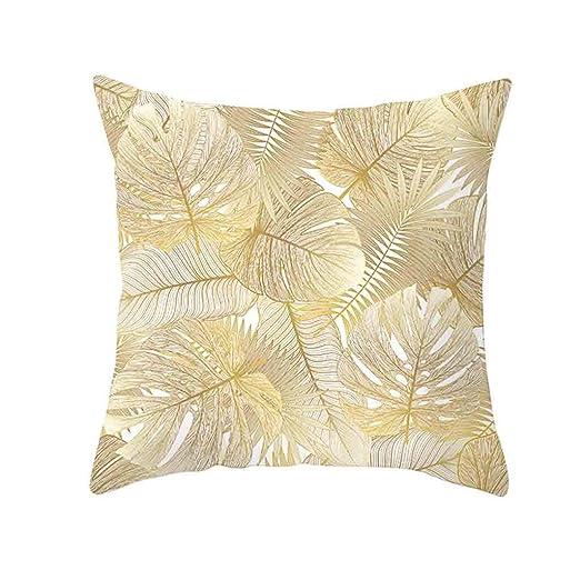 SUDADY-Home Funda de cojín para sofá Patrón de Hoja de Oro Noble y Elegante decoración del hogar Funda Protectora Moda Cuadrado Funda de Almohada para ...
