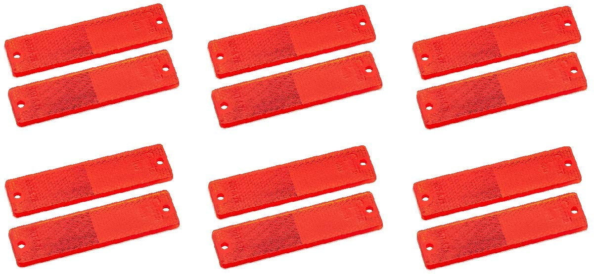 Grote 40132-5 Red Mini Stick-On/Screw-Mount Rectangular Reflectors (Pair Pack) (6)