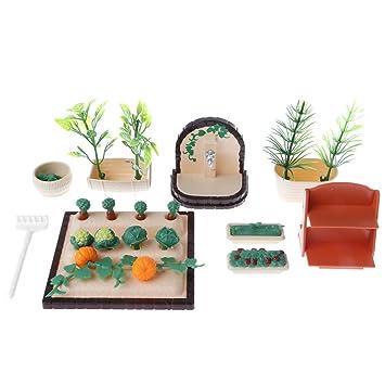 Homyl Miniatur Kunststoff Garten Gemüse Pflanzen Modell Für 1/12 Puppenhaus Garten  Deko