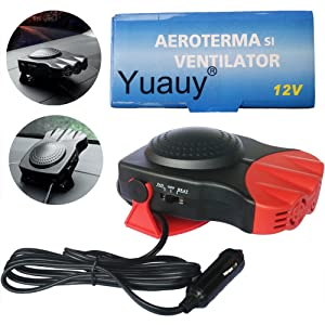 Yuauy Red Car Heater Vehicle 2 in1 Portable 30 Second Fast Heating Quickly Defrosts Defogger 12V 150W Auto Ceramic Heater Cooling Fan 3-Outlet Plug in Cig Lighter Demister