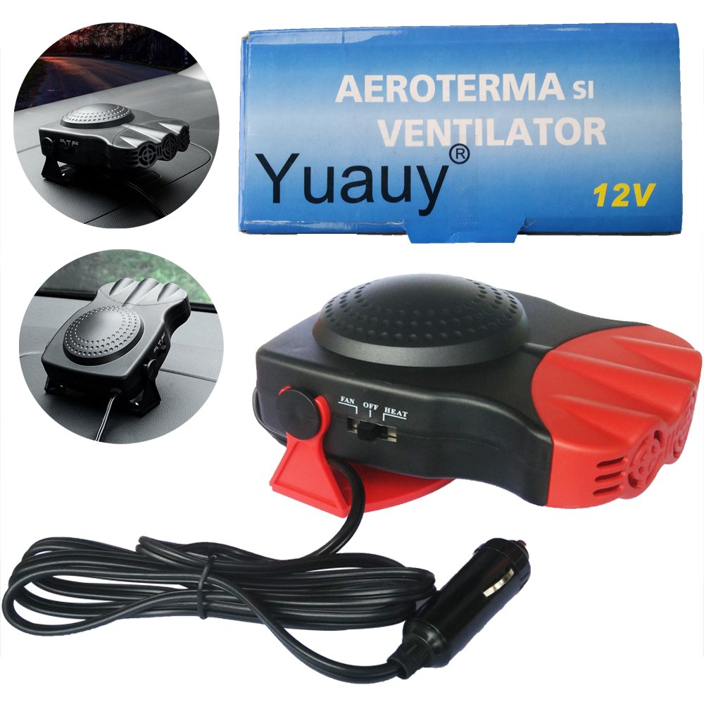 Yuauy Red Car Heater Vehicle 2 in1 Portable 30 Seconds Fast Heating Quickly Defrosts Defogger 12V 150W Auto Ceramic Heater Cooling Fan 3-Outlet Plug in CIG Lighter Demister