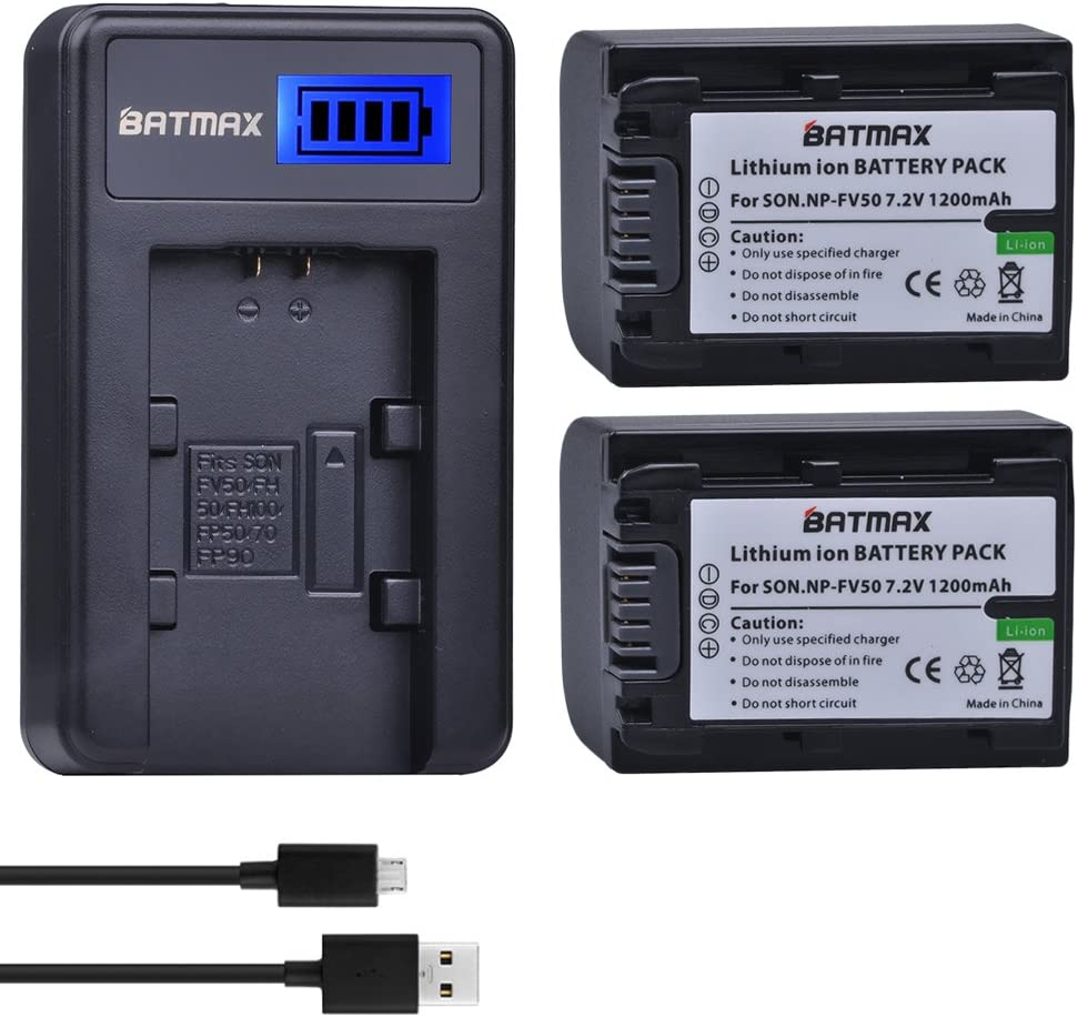 Batmax 2 Packs Battery + LCD Charger for Sony NP-FV30, NP-FV40, NP-FV50 Batteries;Sony FDR-AX53 HDR-CX230 HDR-CX220 CX330 CX380 CX455 CX900 CX430V TD30V FDR-AX100 Handycam Camcorder and More : Camera & Photo