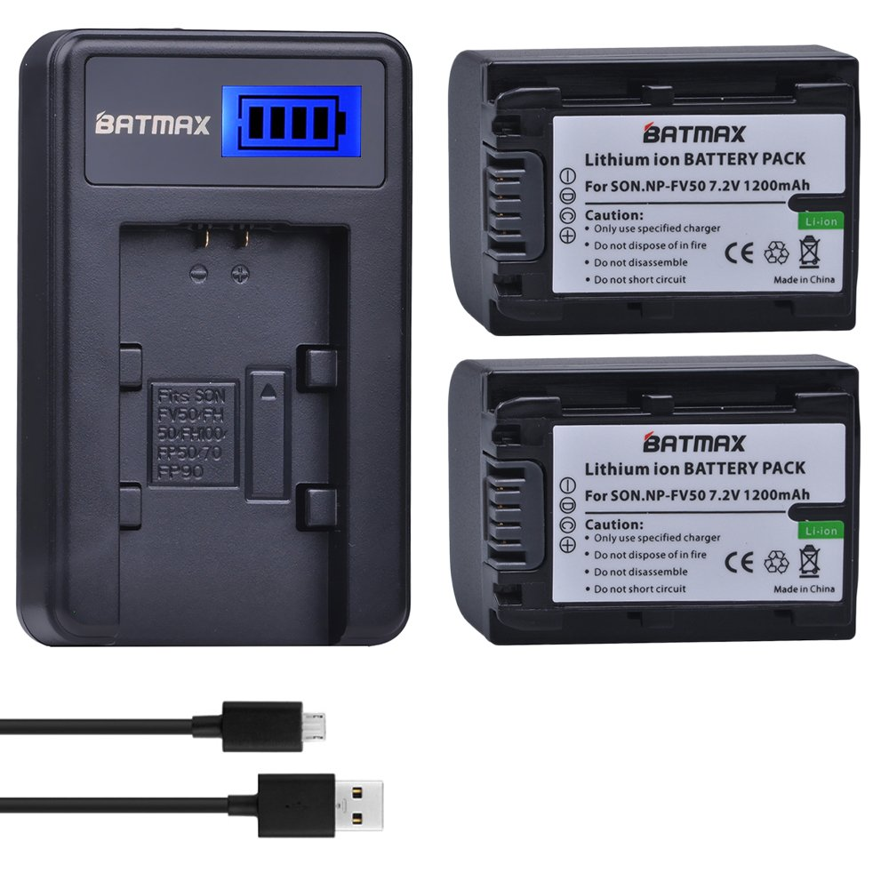 Batmax 2 Packs Battery + LCD Charger for Sony NP-FV30,NP-FV40,NP-FV50 Batteries;Sony FDR-AX53 HDR-CX230 HDR-CX220 CX330 CX380 CX455 CX900 CX430V TD30V FDR-AX100 Handycam Camcorder and More