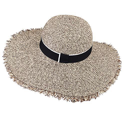 (Womens Sun Straw Hat Wide Brim UPF 50 Summer Hat Foldable Roll up Floppy Beach Hats for Women (SH046 Mixed Khaki, L (Head Circum 22.6