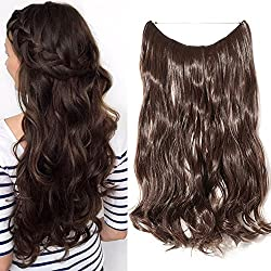"""Hair Extensions 20"""" 90G Invisible Wire No Clips in Full Head Hair Extension Secret Rubber Band Hairpieces Real Natural Human Made Synthetic Hair for Women medium brown(curly)"""