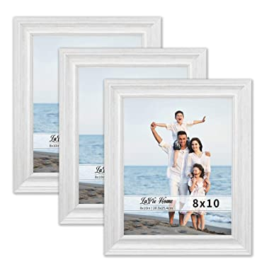 LaVie Home 8x10 Picture Frames (3 Pack, White Wood Grain) Rustic Photo Frame Set with High Definition Glass for Wall Mount & Table Top Display