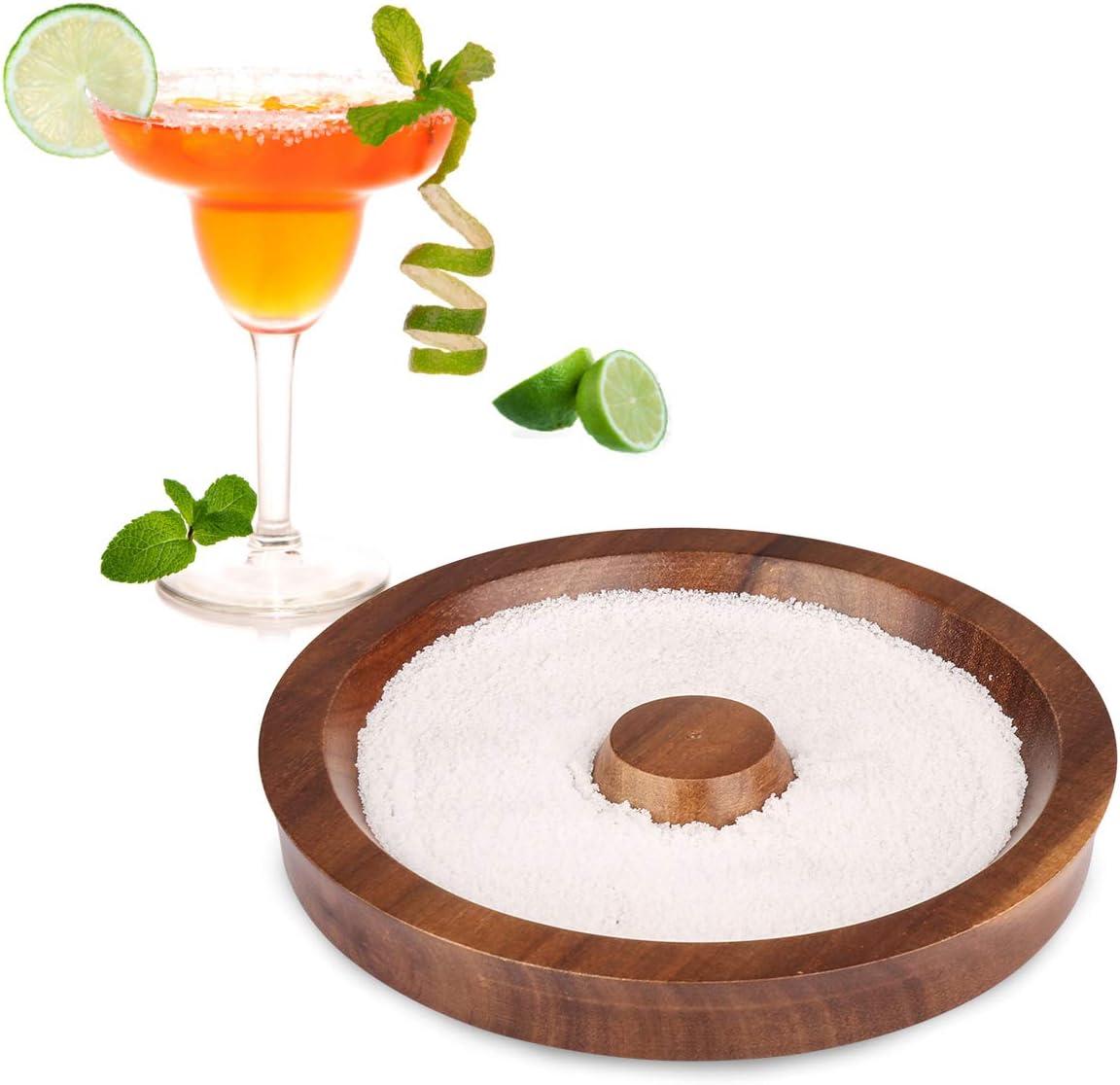 Rimmer in vetro a 3 livelli Margarita Salt Rimmer con zucchero acrilico Sale Rimmer Lime Glass per cocktail Bartender Tool Party Home Black