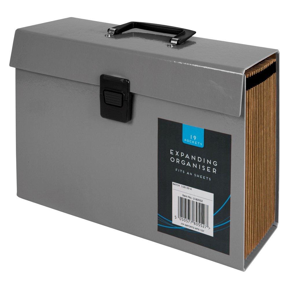 GREY 19 POCKET Expanding Organiser File Box: Amazon co uk