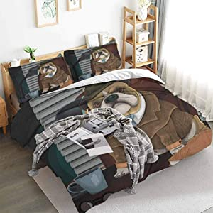 English Bulldog Comforter and Duvet Cover Set Traditional English Detective Dog with a Pipe and Hat Sherlock Holmes Image Washable Duvet Cover Set Multicolor Twin XL Duvet Cover Set