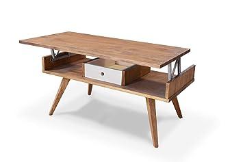 Demiguel Table Basse Relevable Table De Fumeur Meuble De Salon Fabriqué à La Main En Espagne Table De Salon Vintage En Bois Massif Naturel