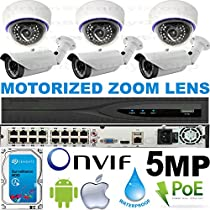 USG Business Grade Sony IMX178 Chip : 5MP 2592x1944 : 6 Camera HD Security System : Ultra 4K H.265 32 Channel Security NVR + 6x 3.6-10mm MOTORIZED Auto-Focus 6MP Lens Cameras + 1x 4TB HD : Phone App