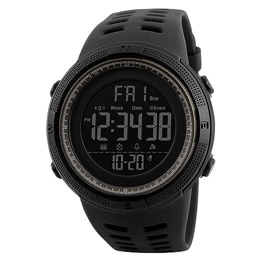 Fashion Big dígitos deportes Digital LCD reloj para hombres 50 m (negro con marrón anillo