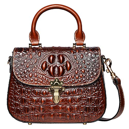 - PIJUSHI Leather Crossbody Shoulder Bags for Women Crocodile Satchel Bags (99806 Brown)