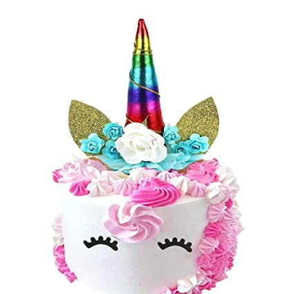 Handmade Iridescence Unicorn Birthday Cake Toppers Set Horn Ears Eyelashand Flowers