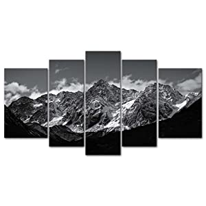 Canvas Wall Art Paintings For Home Decor Black And White Landscape Picture 5 Pieces Modern Giclee Framed Artwork The Pictures For Living Room Decoration Snow Mountain Photo Prints On Canvas