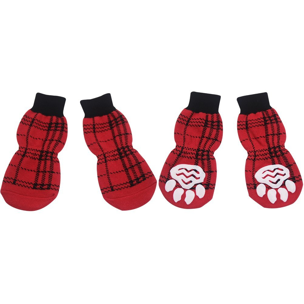 BeMiracle Anti-Slip Dog Socks with Red Straps Non Slip Traction Control for Hardwood Floors, Paw Protectors, Medium