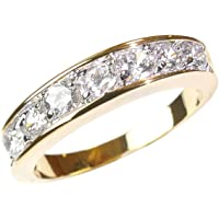 0.34CT Womens Channel Swarovski elements ring band. Outstanding quality gold electroplated