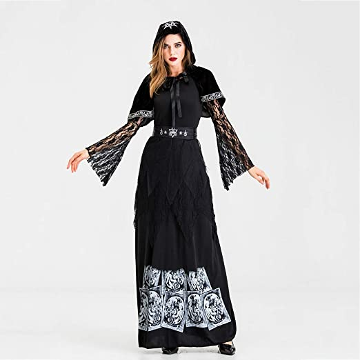 ZDNALS Disfraz De Bruja Calavera Vestido De Halloween Mascarada ...