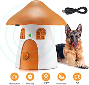 Anti Barking Device Outdoor, 2020 New Ultrasonic Dog Barking Control Devices with USB Rechargeable,4 Levels Operation to 50 FT Range, Sonic Bark Control Devices for Training Small Medium Large Dogs