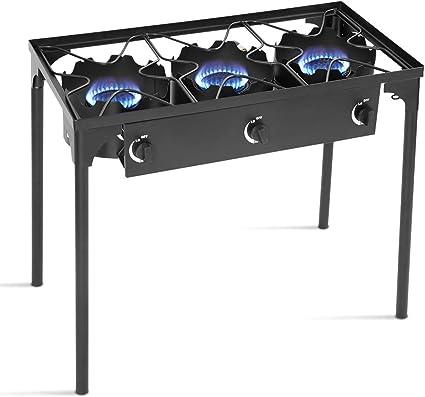 Goplus Estufa Portable al Aire Libre Cocina de Gas propano de Hierro Fundido Patio Quemador W/Patas Desmontables para cocinar Camp (3-Quemador 225.000 ...