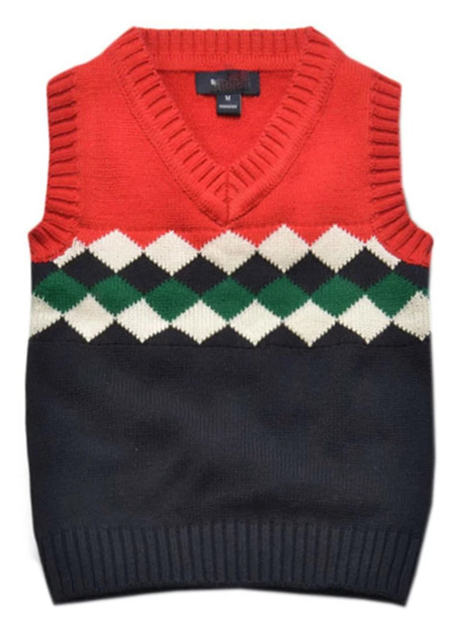 Betusline Baby Boy Girl V-neck Front Argyle Pattern Knitwear Top Red 6 Years