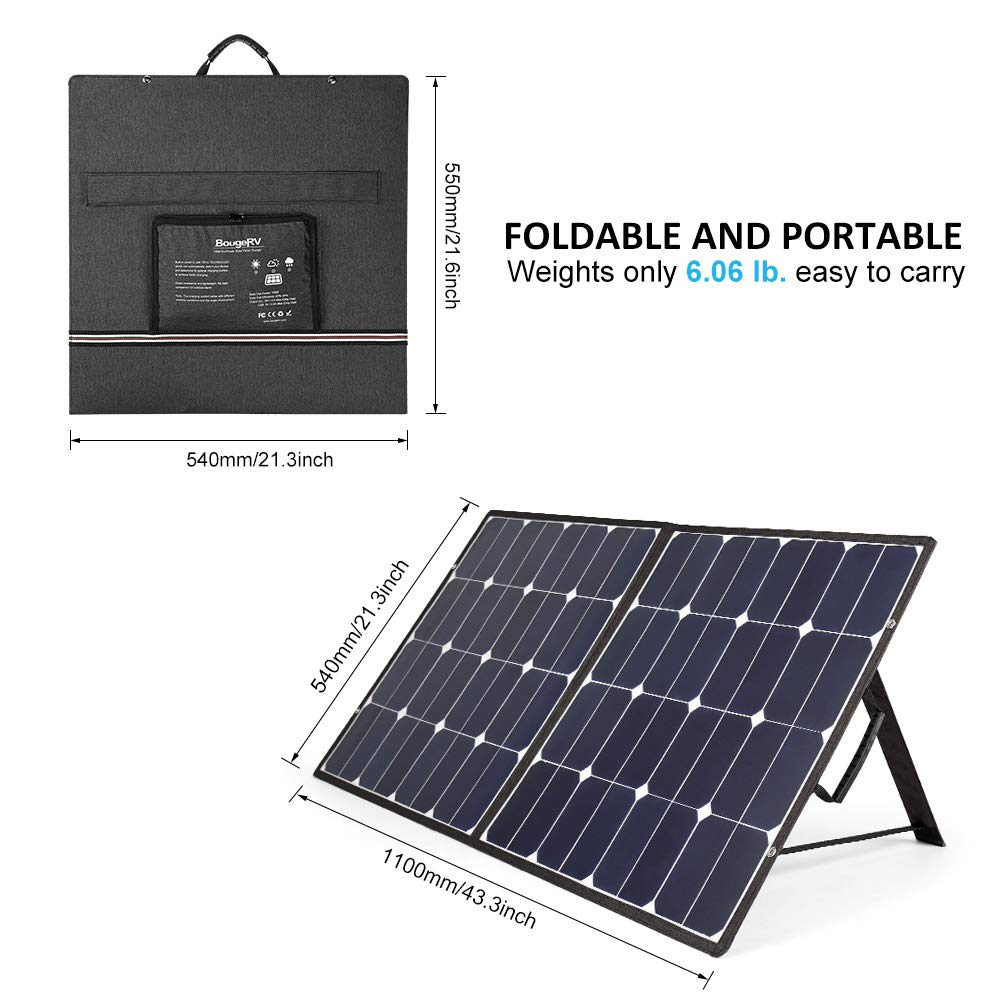 BougeRV 100 Watt 18V 12V Solar Panel SunPower Cell Solar Charger Foldable Portable Dual Output (5V/2A USB + 18V/5A DC), 10 Laptops Connectors Suitable for Smartphones, Tablet, Generator, RV, Boat by BougeRV (Image #1)
