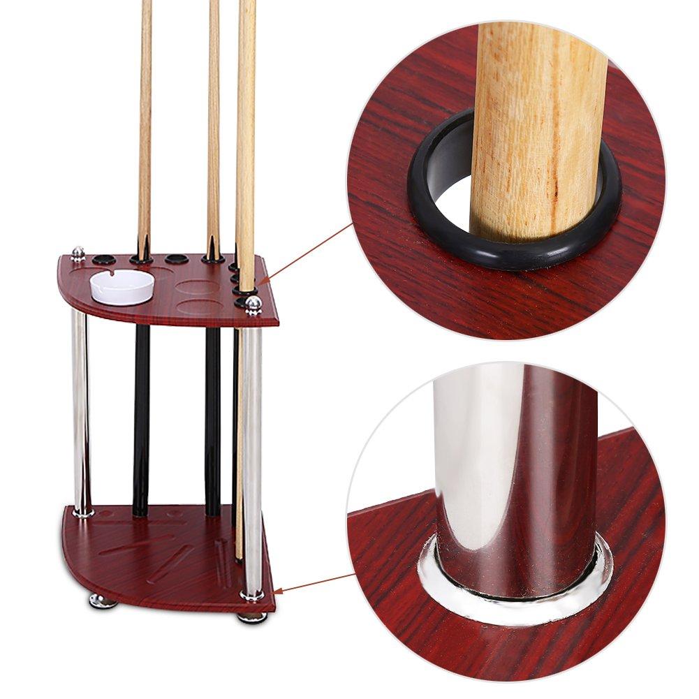 Estante de madera para billar con cenicero capacidad para 8 tacos