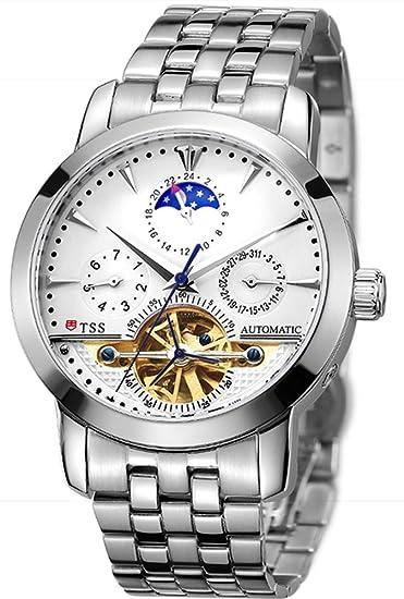 TSS T8030 - Reloj automático para hombre «Skeleton» con fases lunares: TSS: Amazon.es: Relojes
