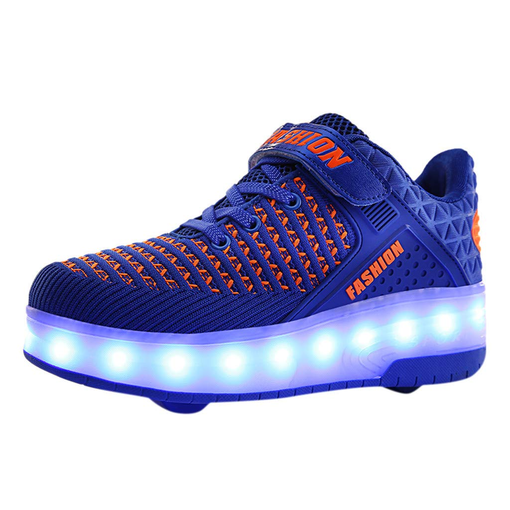 Kauneus LED Light Up Roller Shoes for Kids Wheeled Skate Sneaker Shoes for Boys Girls Thanksgiving Christmas Day Best Gift Blue by Kauneus Kid Shoes NEW