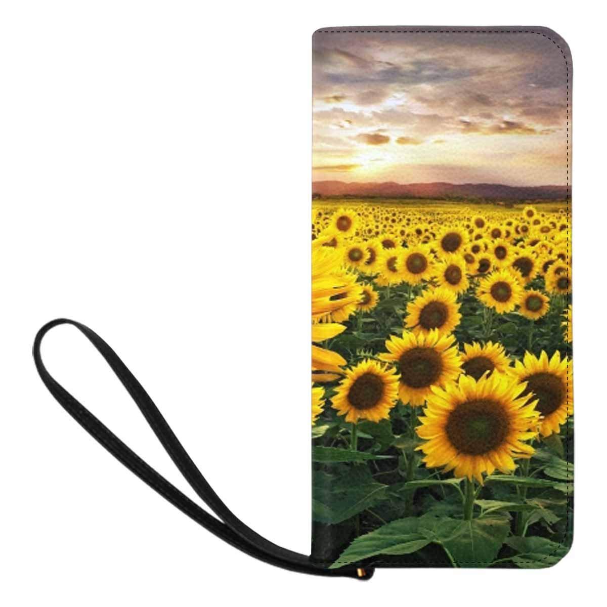 CDM product InterestPrint Sunflowers and Lavender Flowers Womens Clutch Wallet Large Wristlet Zipper Clutch Large Travel Purse big image