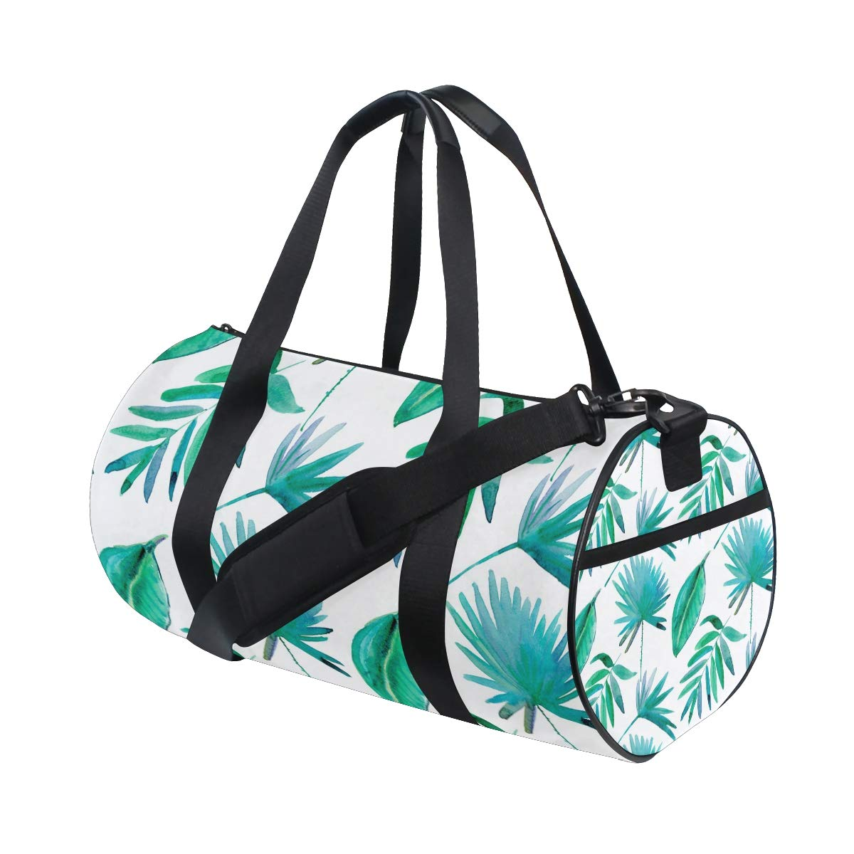 Tropical Leaf Yoga Sports Gym Duffle Bags Tote Sling Travel Bag Patterned Canvas with Pocket and Zipper For Men Women Bag