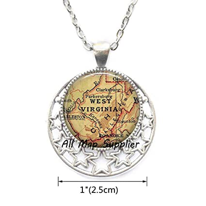 Amazon.com : AllMapsupplier Fashion Necklace West Virginia ...
