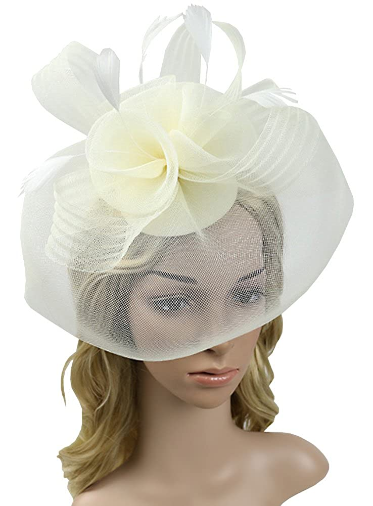 Urban CoCo Women\'s Flower Feather and Veil Fascinator Cocktail Party Hair Clip Hat EX-HA5199-BE