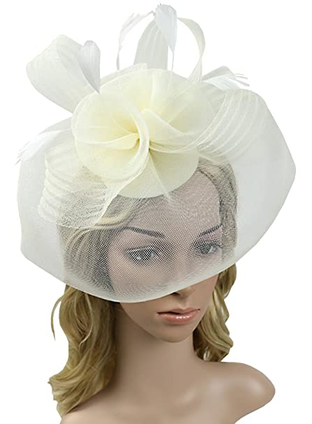 Urban CoCo Women s Elegant Flower Feather and Veil Fascinator Cocktail  Party Hair Clip Hat (Beige 094fbbaa486