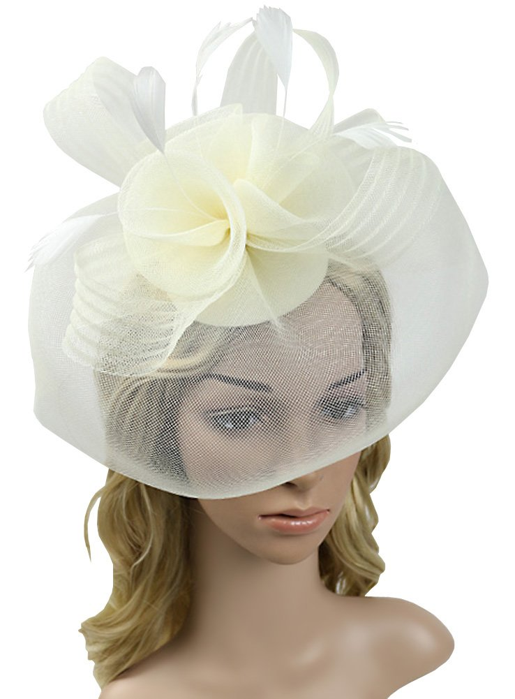 Urban CoCo Women's Elegant Flower Feather and Veil Fascinator Cocktail Party Hair Clip Hat (Beige)