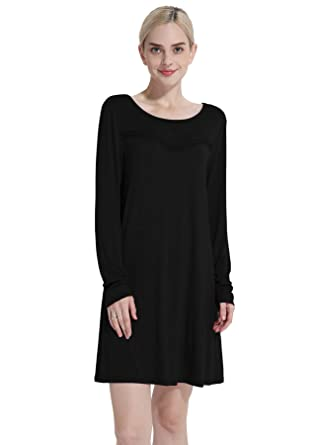 a96950d4540 Cyparissus Tunics for Women Long Sleeve Tunic Swing Top Loose Basic Women s  Tops Swing Dress