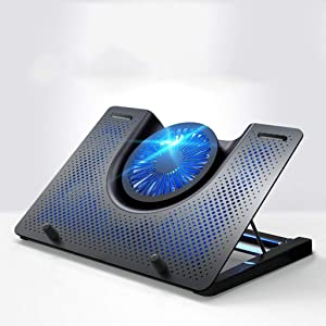 """XIAOLI Notebook Cooler Laptop Cooling Stand Blu-ray 12"""" - 18"""" Gaming Laptop Cooling Pad for Desk USB Powered Fan with Metal Grid Stable and Silent Laptop Cooler pad (Color : Black)"""