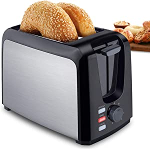 Toaster 2 Slice Best Rated Prime Wide Slot Stainless Steel Toasters Compact Retro Toaster with 7 Bread Shade Setting & Removable Crumb Tray for Bread, Waffles